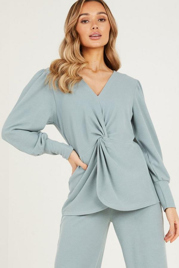 Green Knot Front Ribbed Top