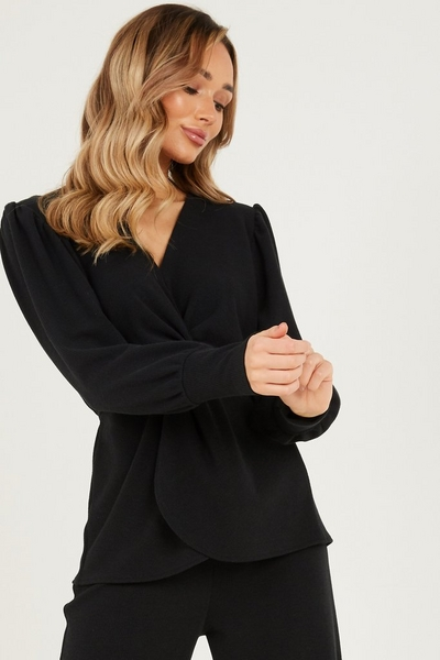 Black Knot Front Ribbed Top