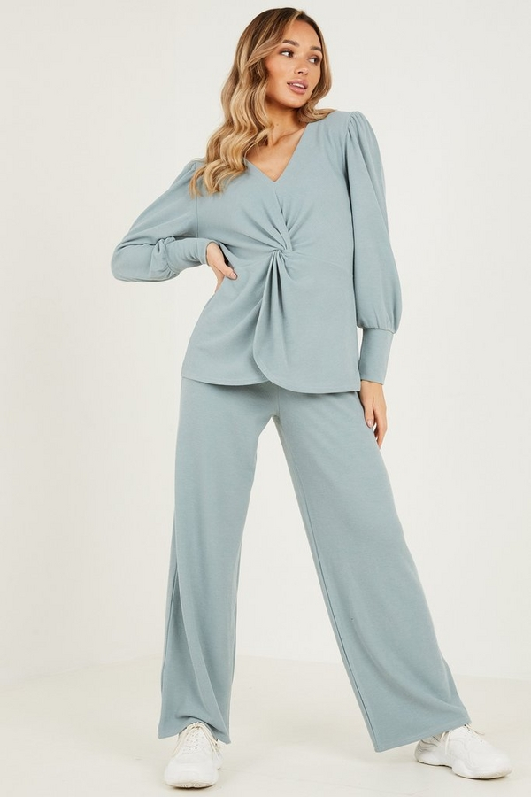 Blue Ribbed Palazzo Trousers