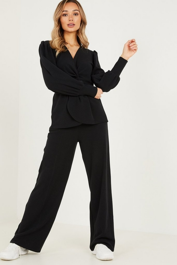 Black Ribbed Palazzo Trousers