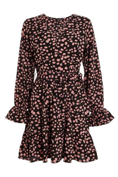 Black Spot Print Skater Dress