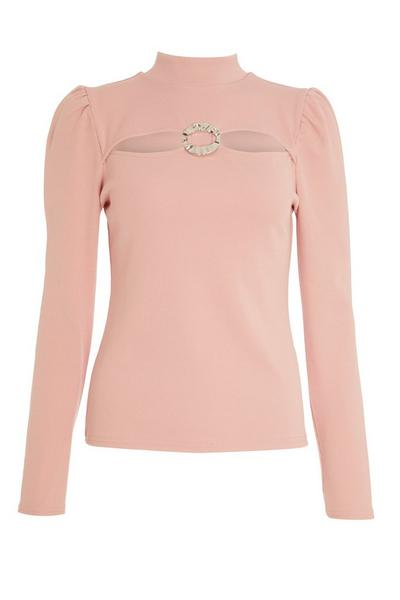 Pink Ribbed Puff Sleeve Top