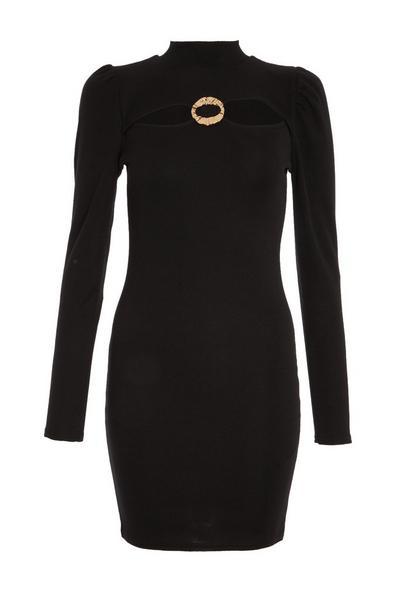 Black Ribbed Puff Sleeve Dress