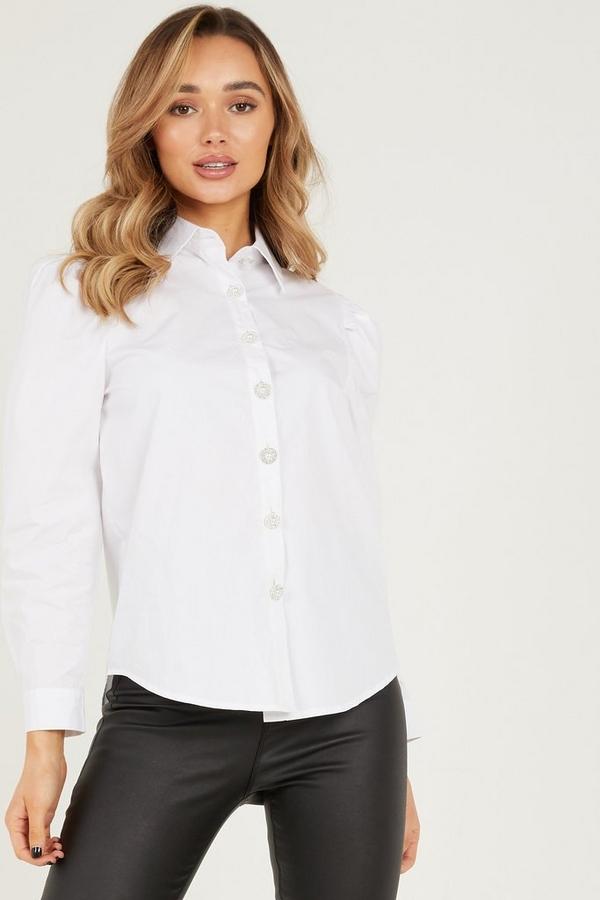 White Diamante Button Shirt