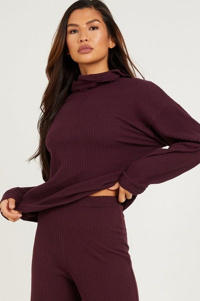 Plum Ribbed Cowl Neck Top