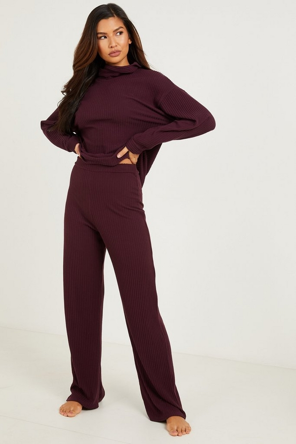 Plum Ribbed Palazzo Trousers