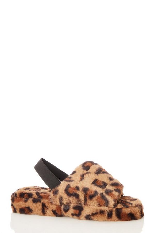 Animal Print Faux Fur Mule Slippers