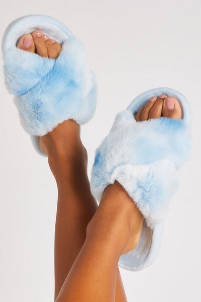 Blue Faux Fur Cross Slippers