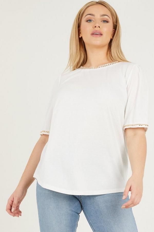 Curve White Chain T Shirt