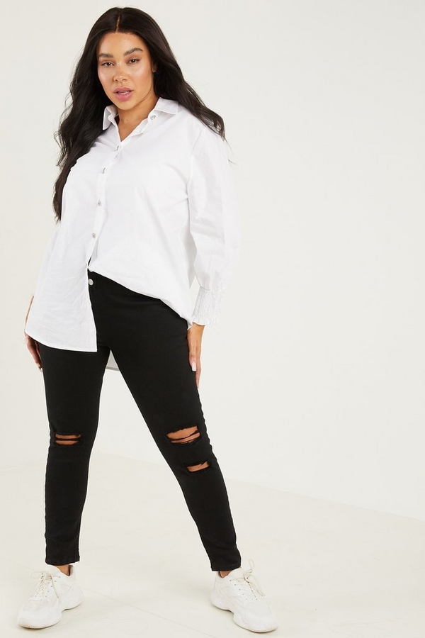 Curve Black Denim High Waist Skinny Jeans
