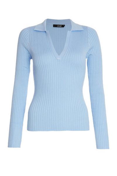 Blue Light Knit Polo Top