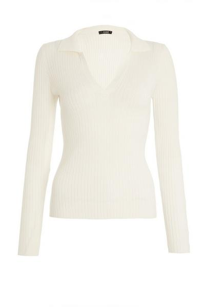 White Light Knit Polo Top