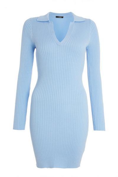 Blue Ribbed Bodycon Dress