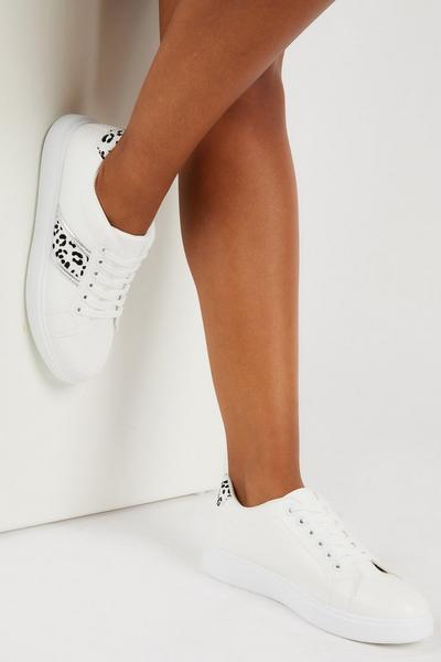 White Leopard Print Trainer
