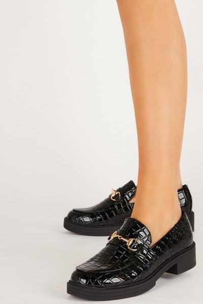 Black Crocodile Print Loafer