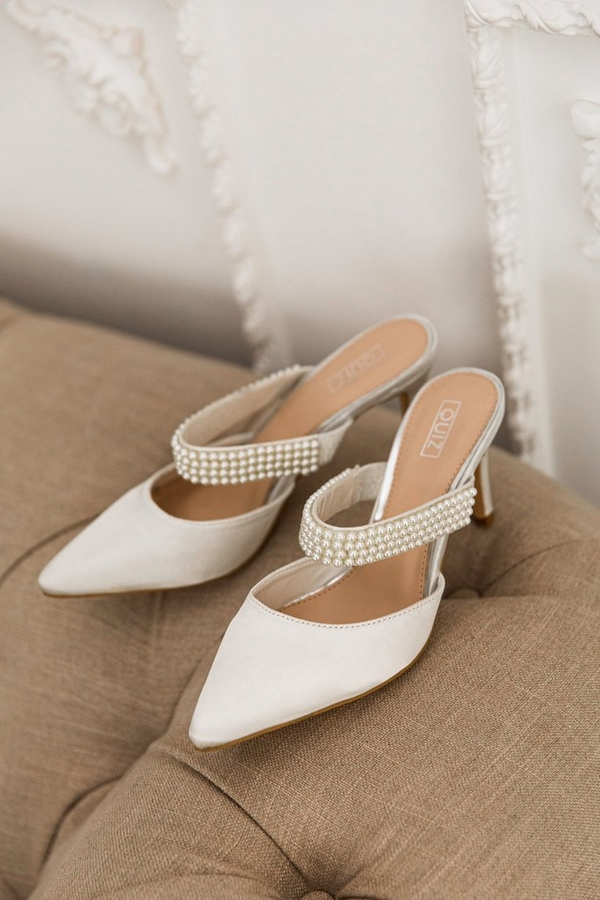 Bridal White Pearl Heeled Mule Courts