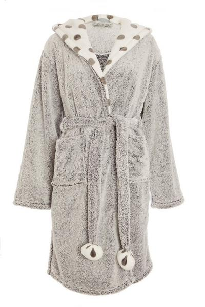 Grey Polka Dot Robe