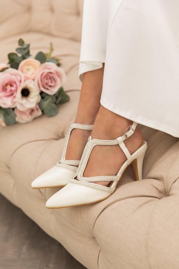 Bridal White T-Bar Courts