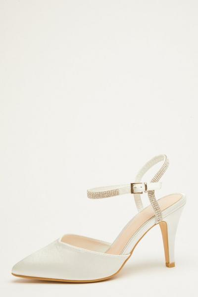 Bridal White Diamante Courts