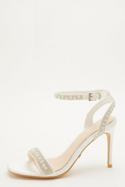 Bridal White Pearl Heeled Sandals