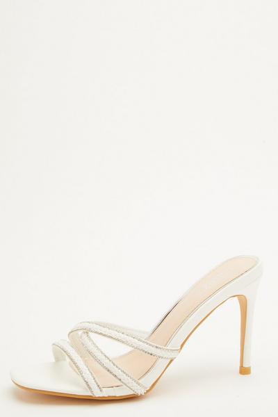 Bridal White Heeled Mule Sandals
