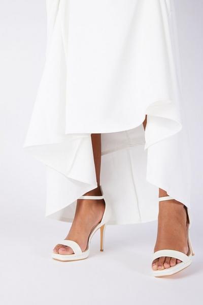 Bridal White Faux Leather Heeled Sandal