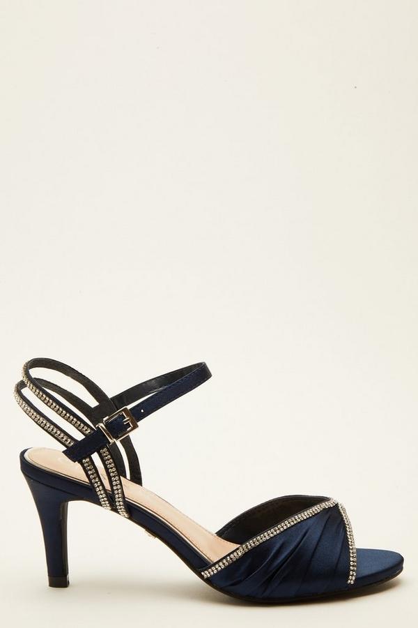 Wide Fit Navy Embellished Heeled Sandals