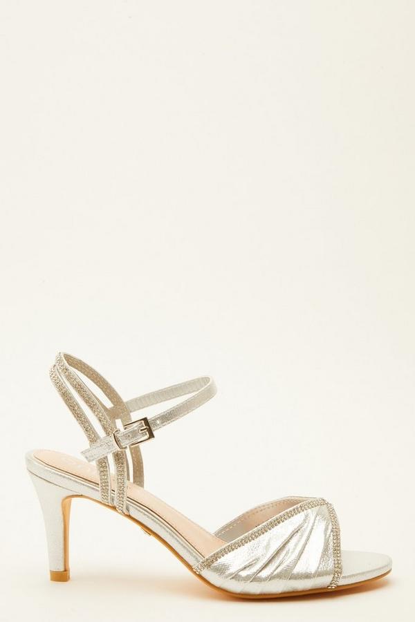 Wide Fit Silver Embellished Heeled Sandals