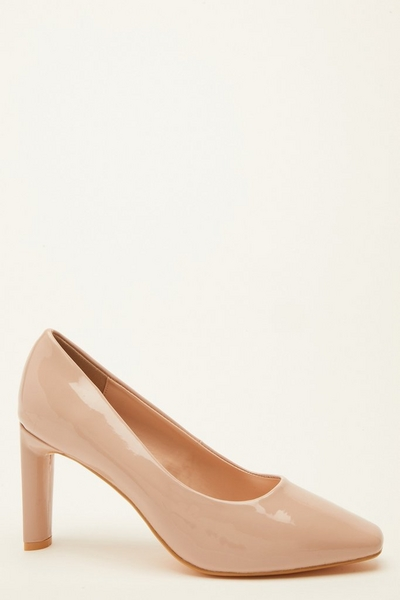 Wide Fit Nude Patent Court Heels