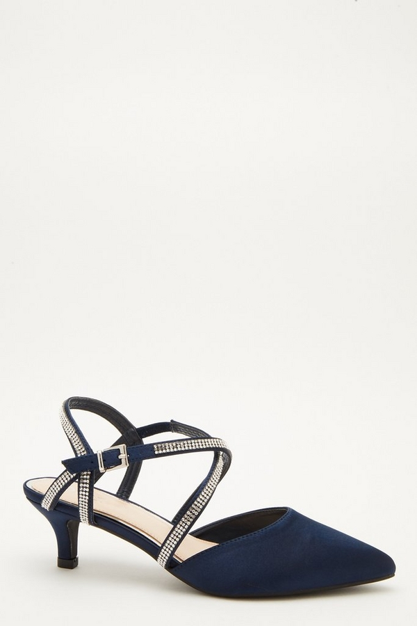 Wide Fit Navy Satin Courts