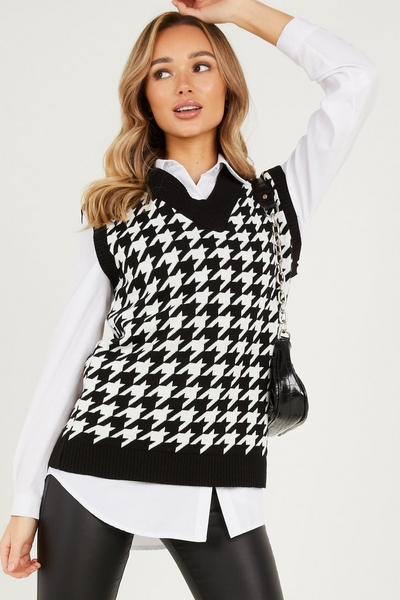 Black Dog Tooth Knitted Tunic Top