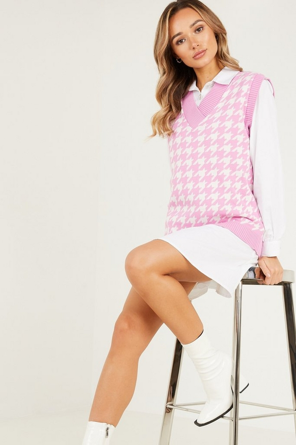 Pink Dog Tooth Knitted Tunic Top