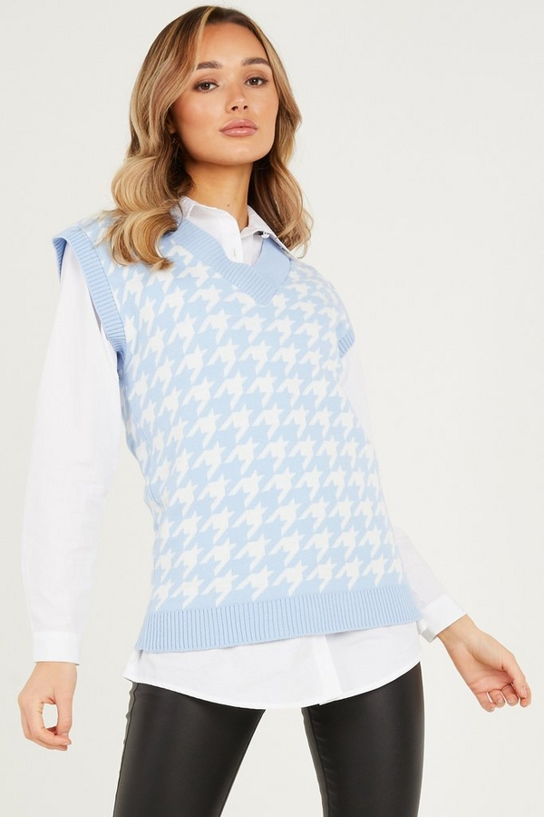 Pale Blue Dog Tooth Knitted Tunic Top
