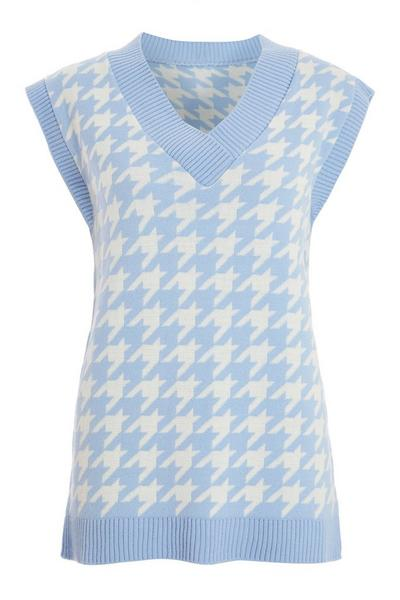 Blue Dog Tooth Knitted Tunic Top