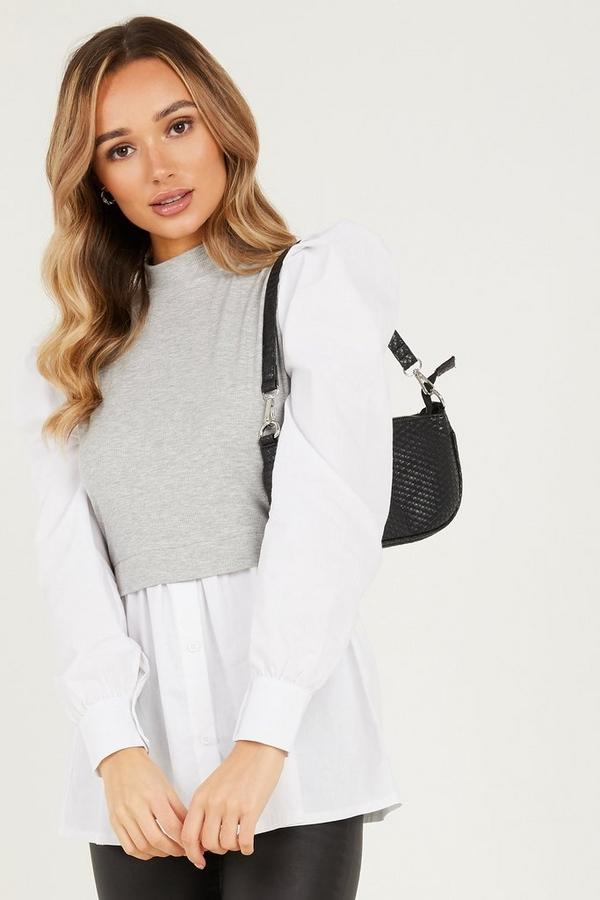 Grey Ribbed High Neck Shirt