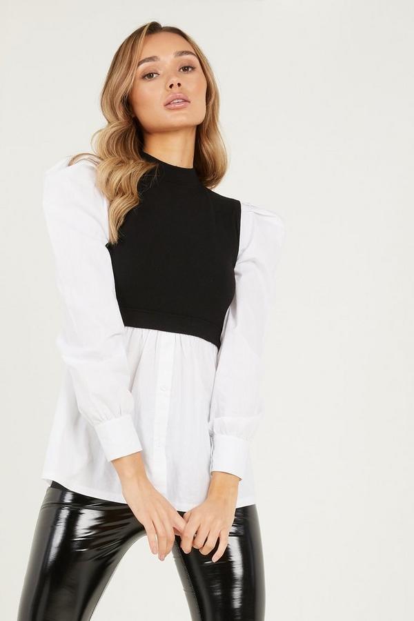 Black Ribbed High Neck Shirt