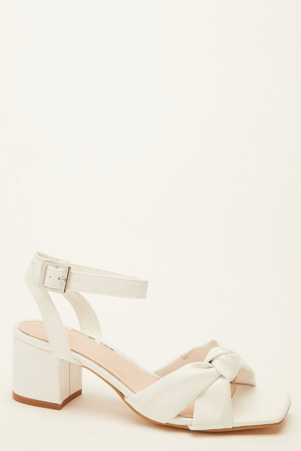 Wide Fit White Knot Heeled Sandals