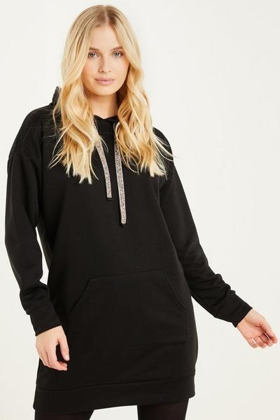 Black Embellished Sweater Dress