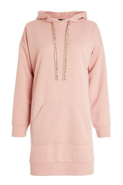 Pink Embellished Sweater Dress