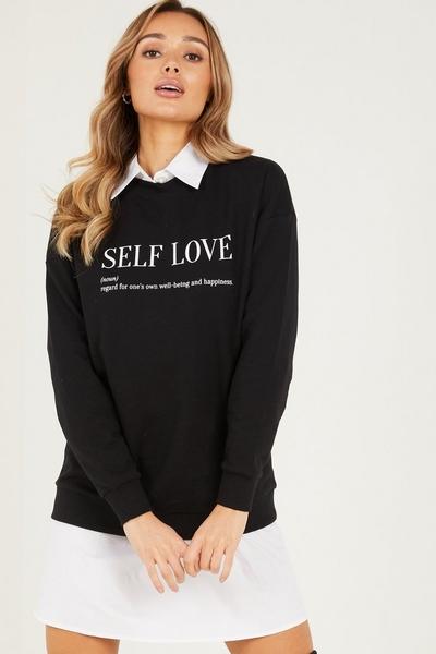Black 'Self Love' Slogan Sweatshirt