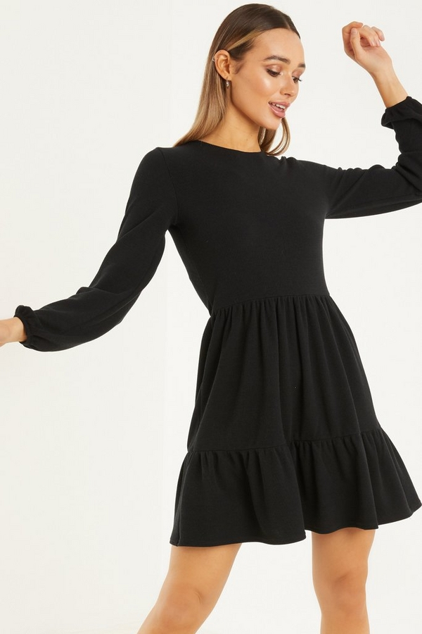 Black Knitted Smock Dress