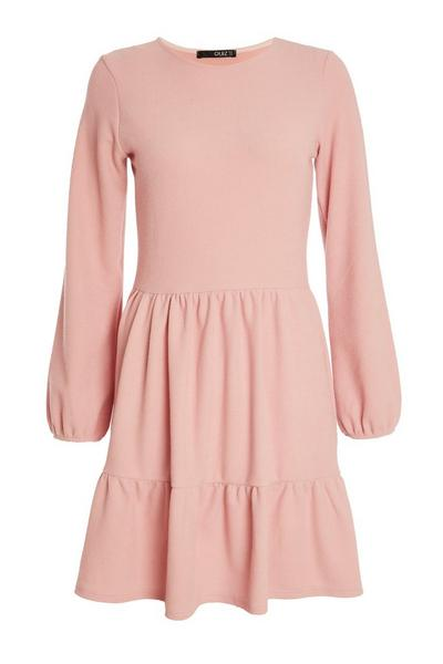 Pink Knitted Smock Dress