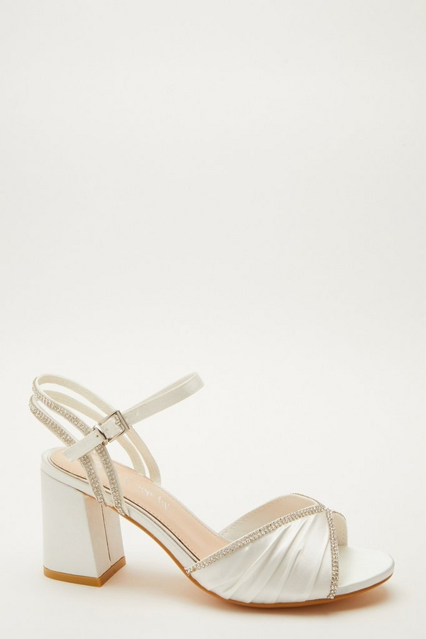 Wide Fit Bridal White Heeled Sandals