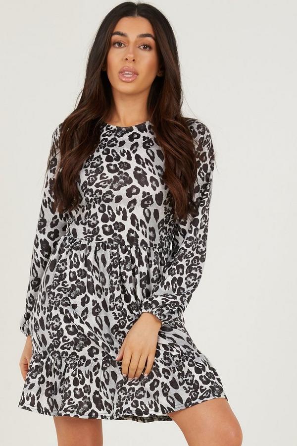 Petite Grey Leopard Print Tiered Dress
