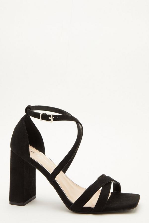 Wide Fit Black Faux Suede Heeled Sandal