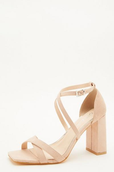 Wide Fit Nude Faux Suede Heeled Sandal
