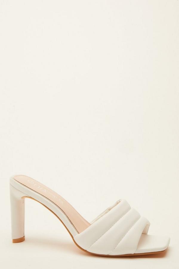Wide Fit White Heeled Mule Sandal
