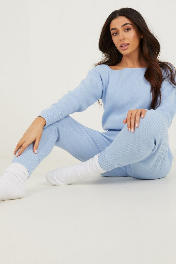Petite Pale Blue Knitted Lounge set