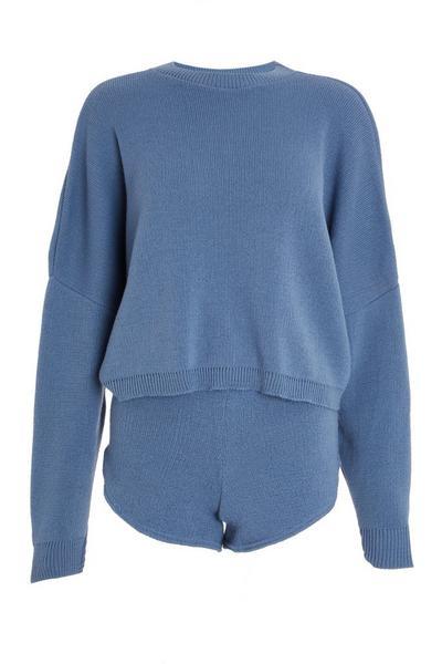 Blue Knitted Short Lounge Set