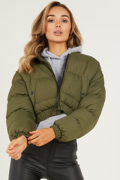 Khaki Cropped Puffer Jacket